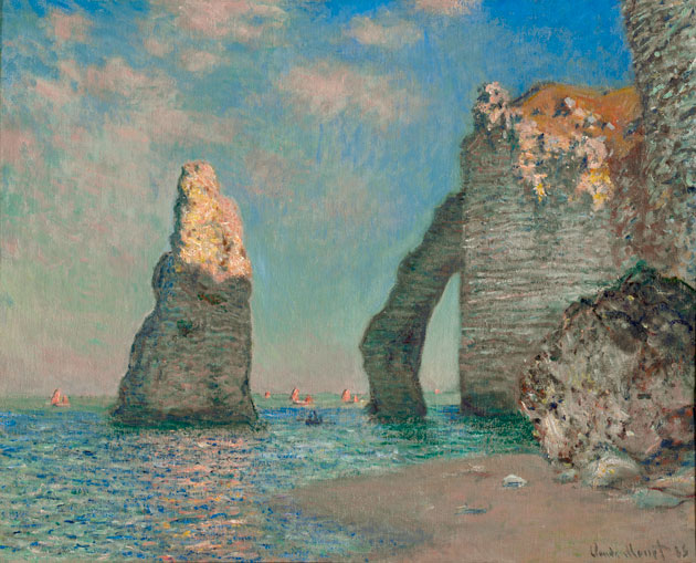 Painting of land formations on a beach by Claude Monet