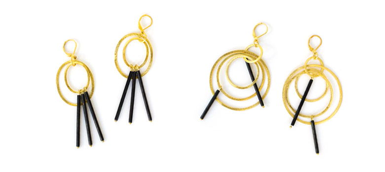Urban Archeology Steel and Gold Fill Hoop Earrings