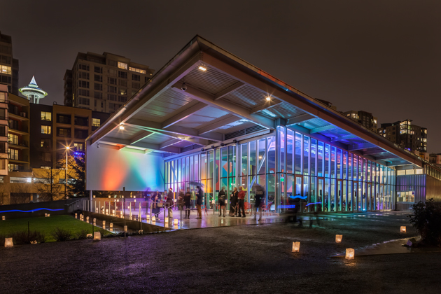 Olympic Sculpture Park pavillion lit up for SAM lights