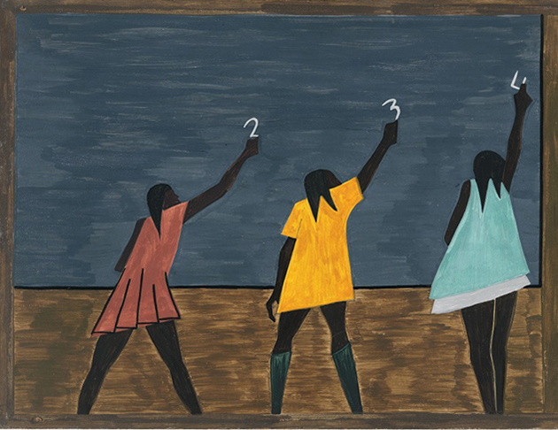 The Migration Series, Panel 58: In the North the African American had more educational opportunities by Jacob Lawrence