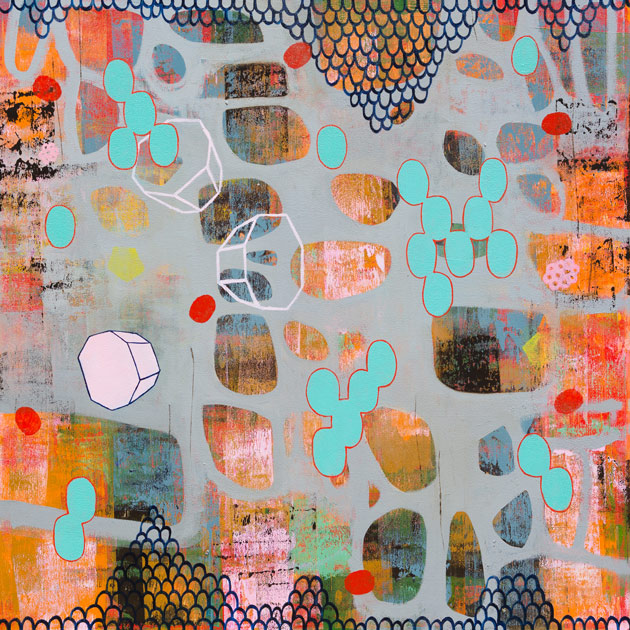 colorful painting with ovals and other geometric shapes and patterns