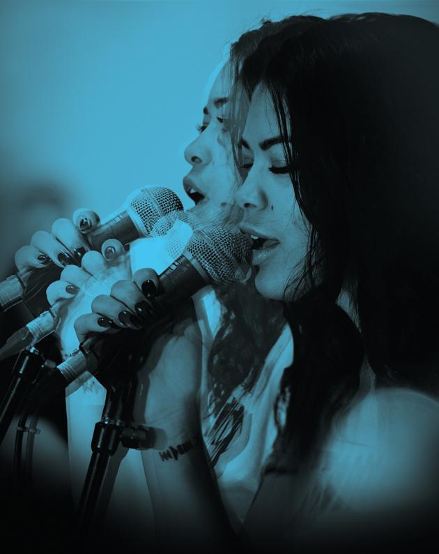 multiple exposure image of teen singing