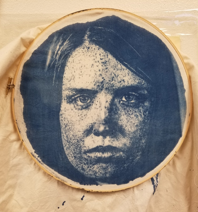 Silkscreen of a woman's face