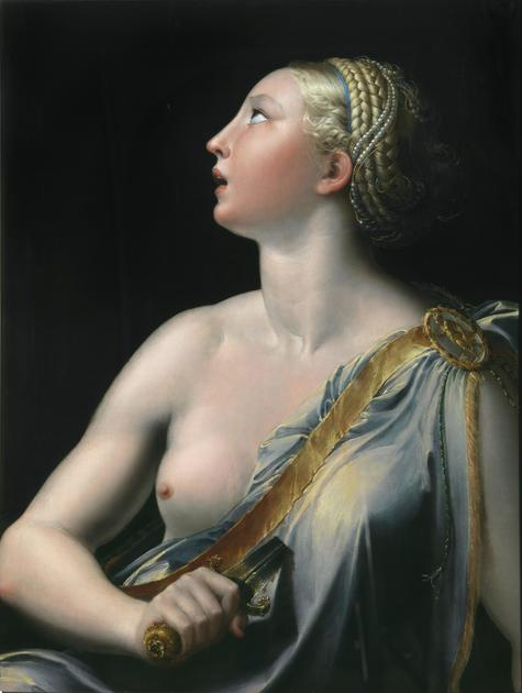 painting of a woman with a sword in her chest