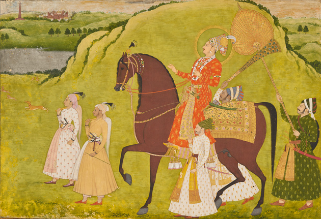Indian painting of a man riding a horse