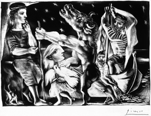 Blind Minotaur Led by a Little Girl in the Night by Pablo Picasso