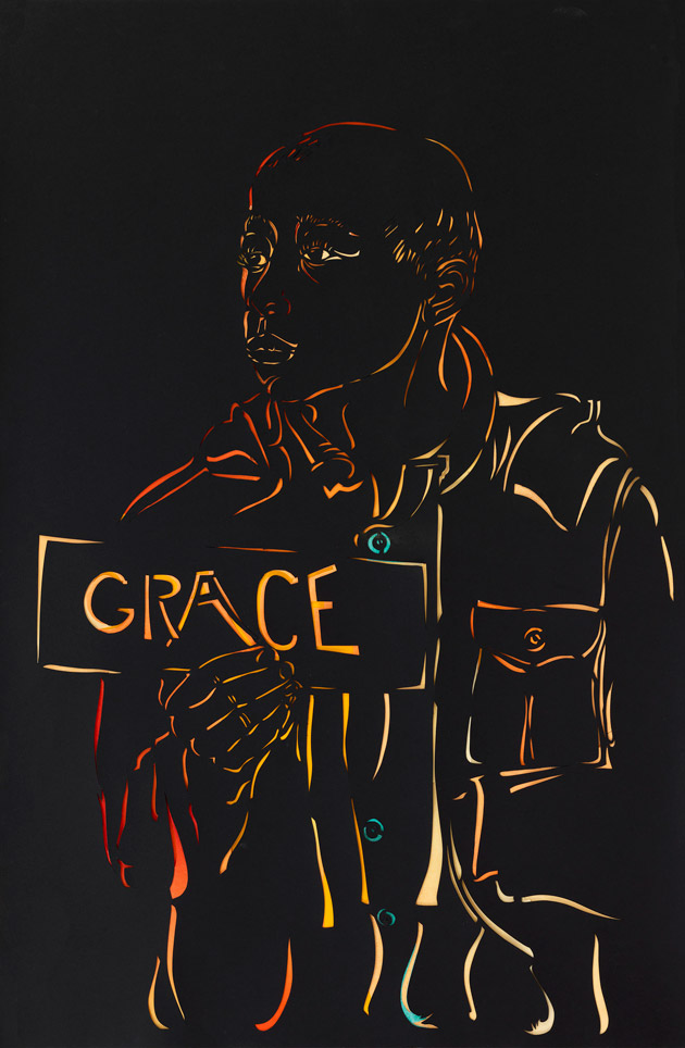 Image of a figure cut out from the dark background, holding a sign that reads 'GRACE'