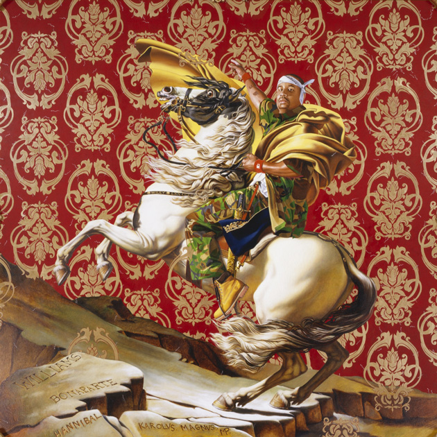 Man in hip-hop clothes riding a horse in Napoleon style
