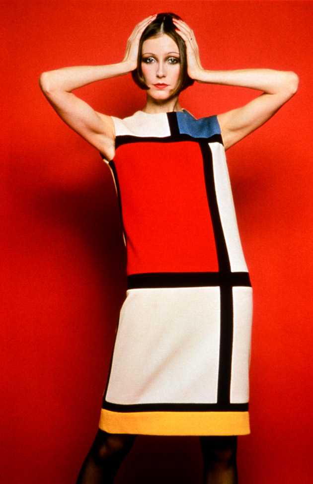 Model posing in Yves Saint Laurent's Mondrian Dress